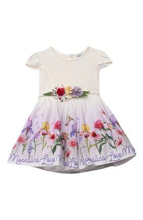 Детское платье MONNALISA белого цвета, арт. 117907 | Фото 1