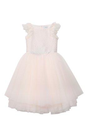 Детское платье MONNALISA розового цвета, арт. 777902 | Фото 1