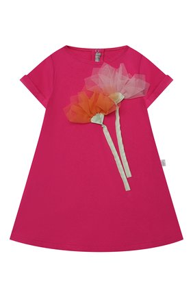 Женский хлопковое платье IL GUFO фуксия цвета, арт. P21VM612M0014/12M-18M | Фото 1