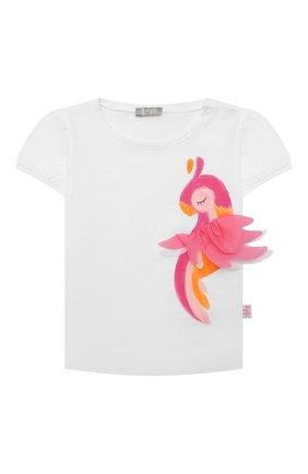 Детский хлопковая футболка IL GUFO белого цвета, арт. P21TS305M0014/12M-18M | Фото 1