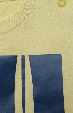 Детский хлопковая футболка IL GUFO желтого цвета, арт. P21TS271M0014/3M-9M | Фото 3