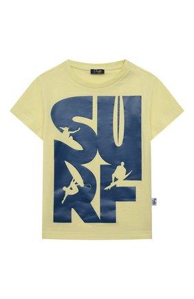Детский хлопковая футболка IL GUFO желтого цвета, арт. P21TS271M0014/24M | Фото 1