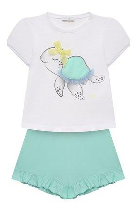 Детский комплект из футболки и шорт IL GUFO бирюзового цвета, арт. P21DP358M0014/3M-9M   Фото 1