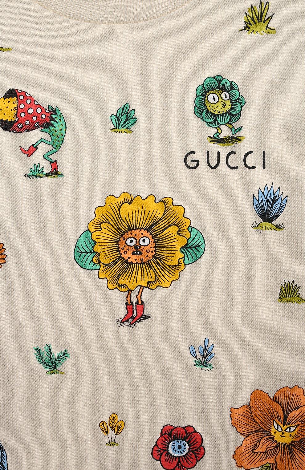 Детский хлопковый свитшот GUCCI белого цвета, арт. 631333/XJC91 | Фото 3