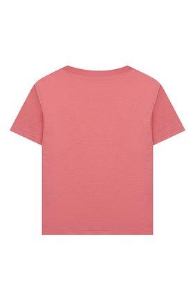 Детская хлопковая футболка GUCCI розового цвета, арт. 586167/XJC70   Фото 2