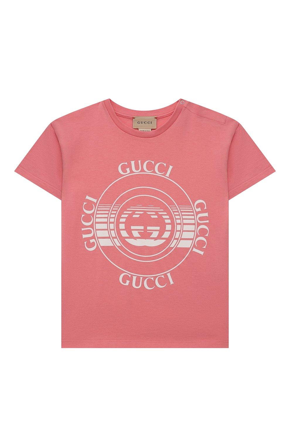 Детский хлопковая футболка GUCCI розового цвета, арт. 576871/XJC70   Фото 1