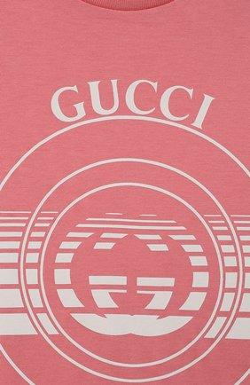 Детский хлопковая футболка GUCCI розового цвета, арт. 576871/XJC70   Фото 3
