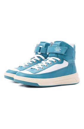Женские кожаные кроссовки  ACNE STUDIOS голубого цвета, арт. AD0342 | Фото 1