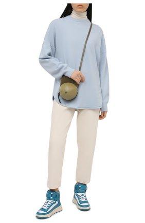 Женские кожаные кроссовки  ACNE STUDIOS голубого цвета, арт. AD0342 | Фото 2