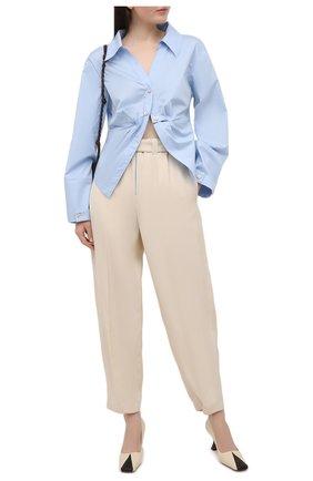 Женские брюки из вискозы и шелка JIL SANDER белого цвета, арт. JSPS311205-WS390300 | Фото 2