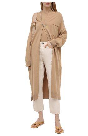 Женские кожаные шлепанцы JIL SANDER бежевого цвета, арт. JP36001A-13004 | Фото 2 (Материал внутренний: Натуральная кожа; Подошва: Плоская)