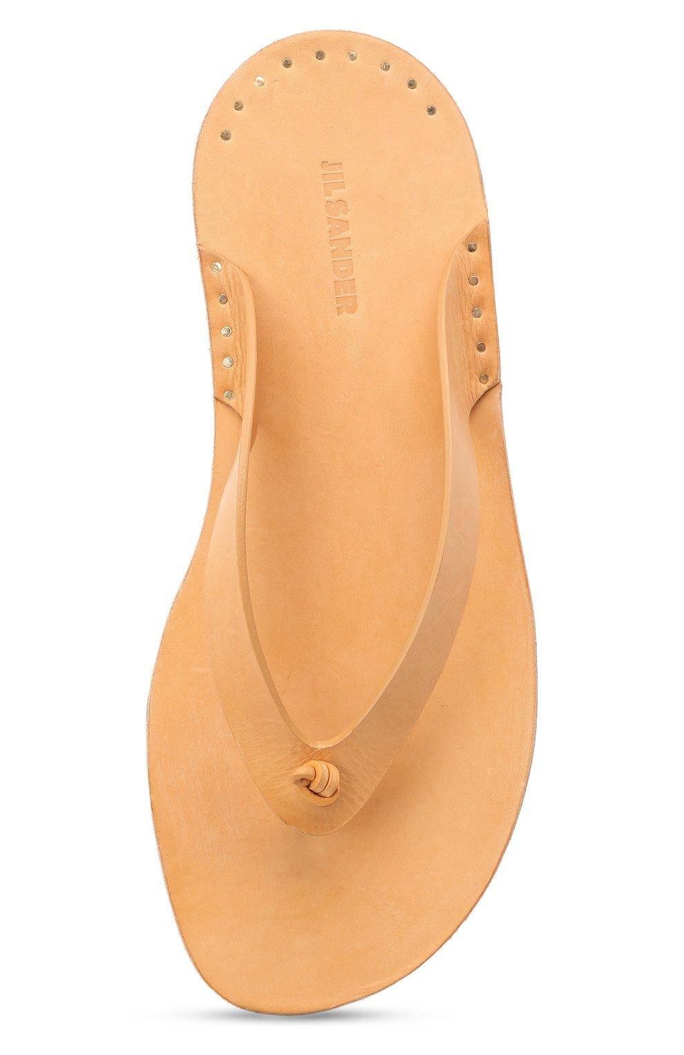 Женские кожаные шлепанцы JIL SANDER бежевого цвета, арт. JP36001A-13004 | Фото 5