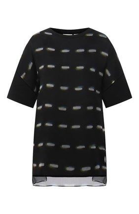 Женская футболка из хлопка и шелка DRIES VAN NOTEN черного цвета, арт. 211-31137-2620   Фото 1
