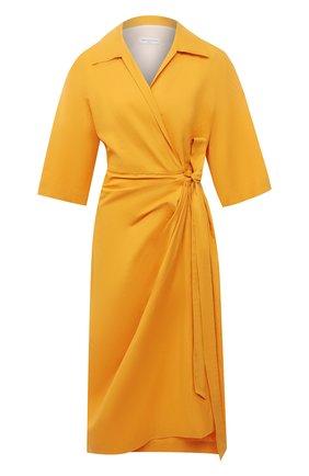 Женское хлопковое платье DRIES VAN NOTEN оранжевого цвета, арт. 211-11009-2331 | Фото 1