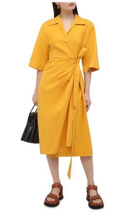 Женское хлопковое платье DRIES VAN NOTEN оранжевого цвета, арт. 211-11009-2331 | Фото 2