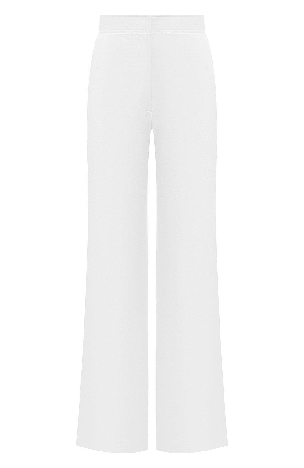 Женские хлопковые брюки DRIES VAN NOTEN белого цвета, арт. 211-10918-2026   Фото 1