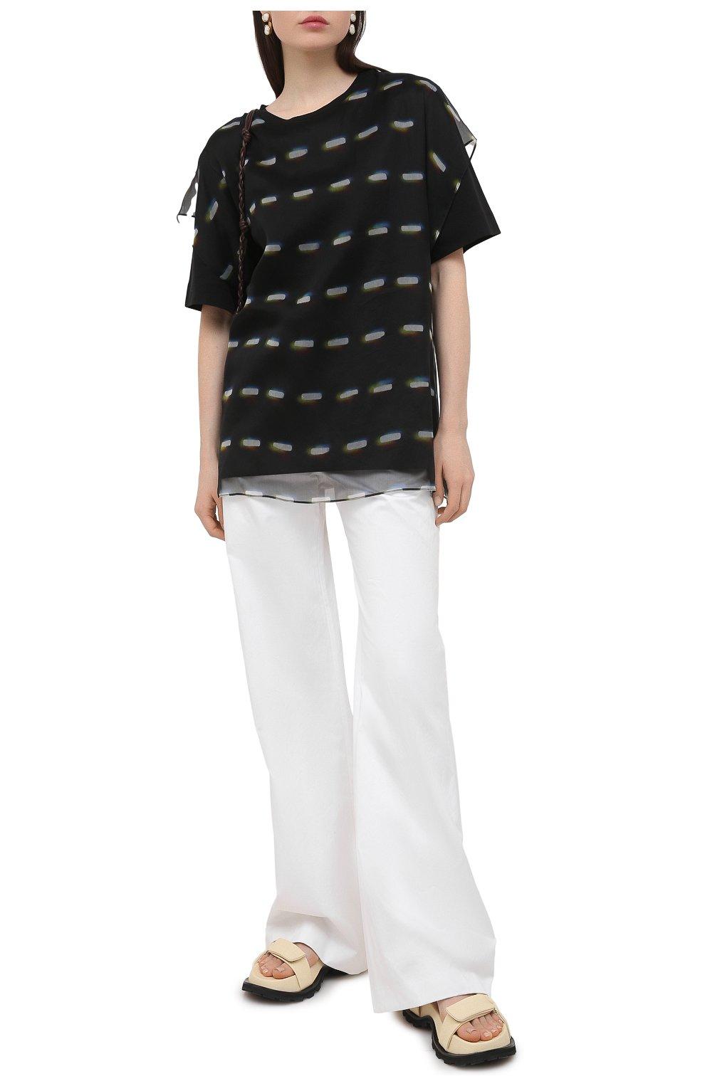 Женские хлопковые брюки DRIES VAN NOTEN белого цвета, арт. 211-10918-2026   Фото 2