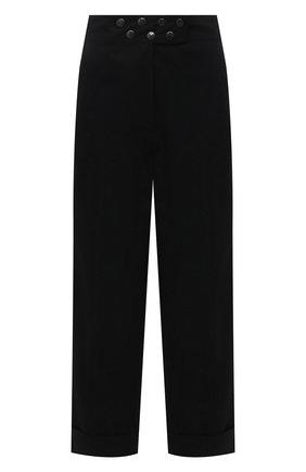 Женские хлопковые брюки DRIES VAN NOTEN черного цвета, арт. 211-10902-2044   Фото 1 (Женское Кросс-КТ: Брюки-одежда; Силуэт Ж (брюки и джинсы): Прямые; Стили: Кэжуэл; Материал внешний: Хлопок; Длина (брюки, джинсы): Стандартные)