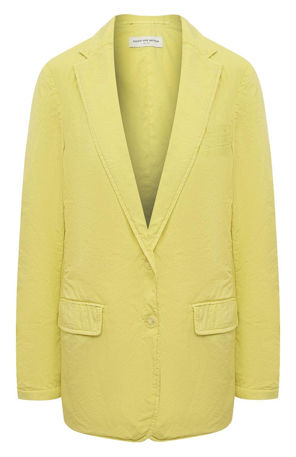 Женский хлопковый жакет DRIES VAN NOTEN желтого цвета, арт. 211-10414-2279 | Фото 1