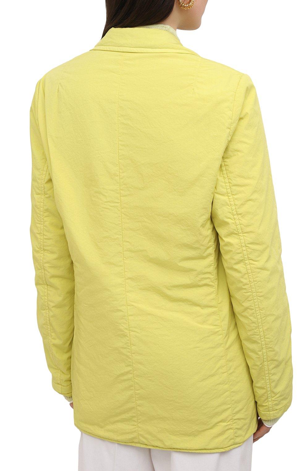 Женский хлопковый жакет DRIES VAN NOTEN желтого цвета, арт. 211-10414-2279 | Фото 4