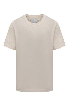 Женская хлопковая футболка BOTTEGA VENETA светло-бежевого цвета, арт. 649060/VF1U0 | Фото 1