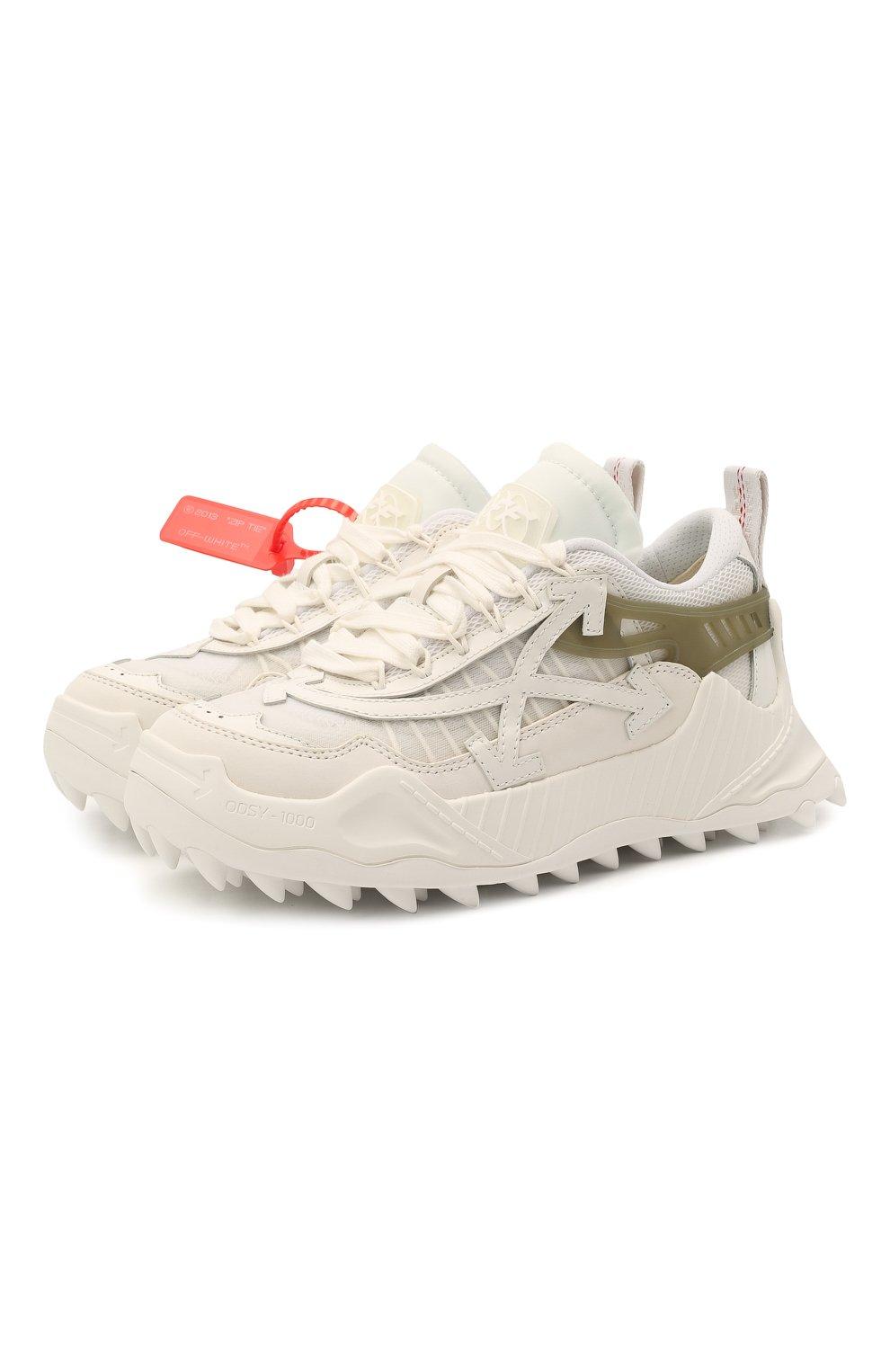 Женские текстильные кроссовки odsy-1000 OFF-WHITE белого цвета, арт. 0WIA180R21FAB0010105 | Фото 1 (Материал внешний: Текстиль; Подошва: Платформа; Материал внутренний: Текстиль)