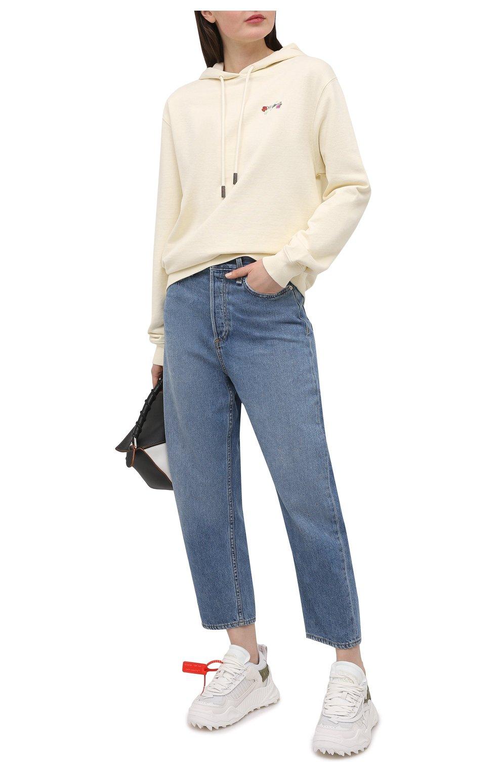 Женские текстильные кроссовки odsy-1000 OFF-WHITE белого цвета, арт. 0WIA180R21FAB0010105 | Фото 2 (Материал внешний: Текстиль; Подошва: Платформа; Материал внутренний: Текстиль)