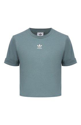 Женская хлопковая футболка ADIDAS ORIGINALS зеленого цвета, арт. GN2808 | Фото 1