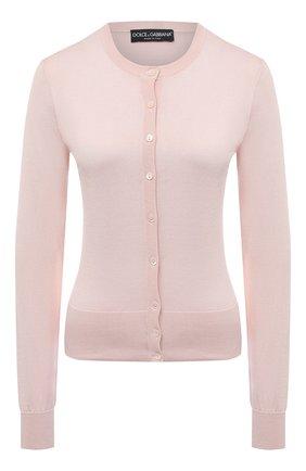 Женский шелковый кардиган DOLCE & GABBANA светло-розового цвета, арт. FX842T/JASMX | Фото 1