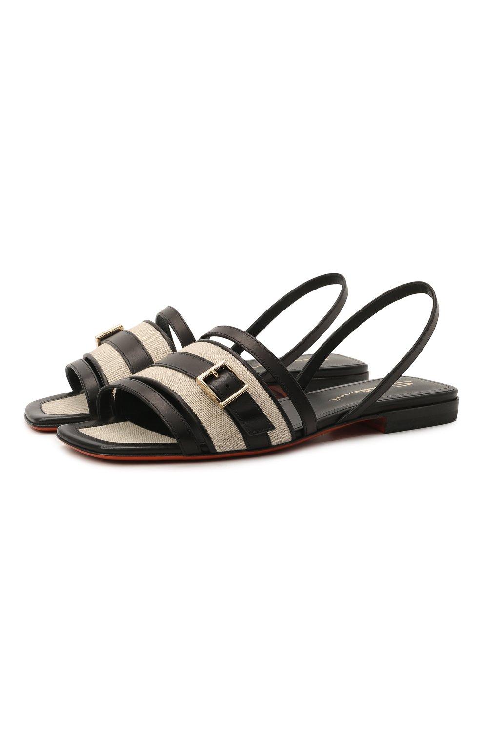 Женские кожаные сандалии SANTONI черного цвета, арт. WHYF59347HI1T0I0N01 | Фото 1