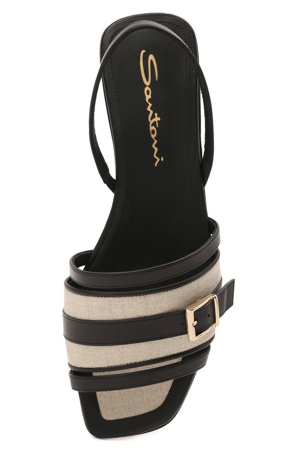 Женские кожаные сандалии SANTONI черного цвета, арт. WHYF59347HI1T0I0N01 | Фото 5