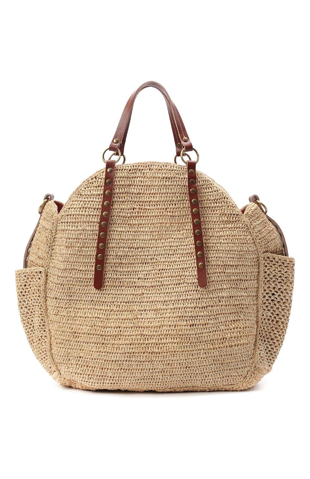 Женская сумка sam SANS-ARCIDET бежевого цвета, арт. SAM BAG S21/L | Фото 1 (Материал: Растительное волокно; Ремень/цепочка: На ремешке; Размер: large)