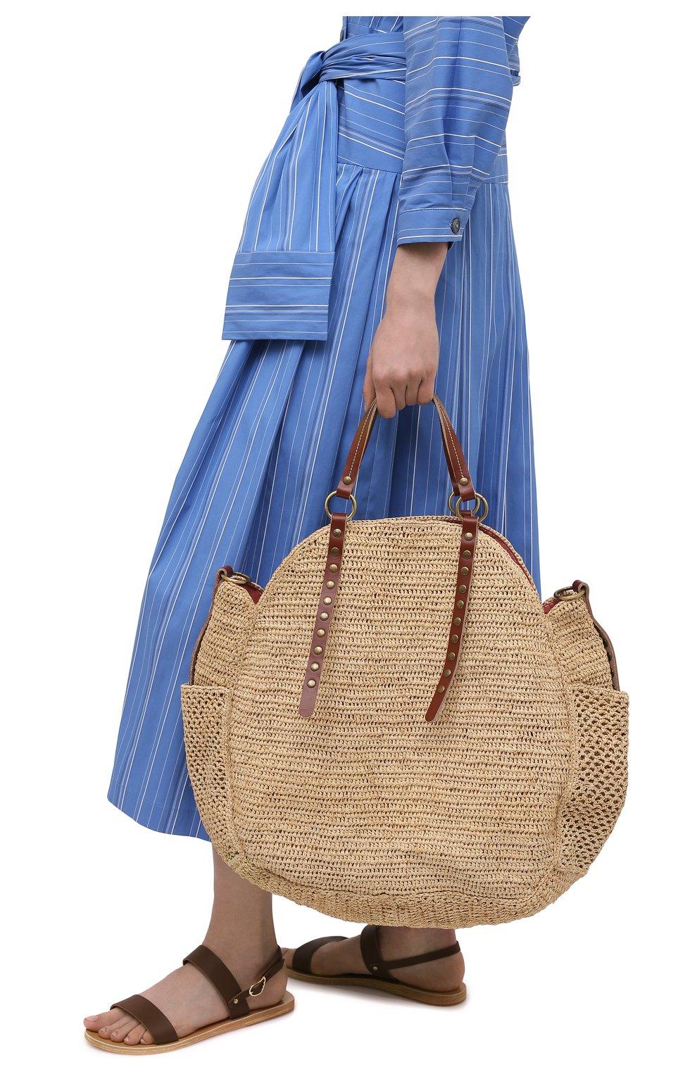 Женская сумка sam SANS-ARCIDET бежевого цвета, арт. SAM BAG S21/L | Фото 2 (Материал: Растительное волокно; Ремень/цепочка: На ремешке; Размер: large)