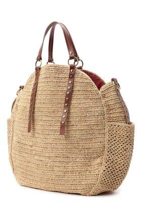 Женская сумка sam SANS-ARCIDET бежевого цвета, арт. SAM BAG S21/L | Фото 3 (Материал: Растительное волокно; Ремень/цепочка: На ремешке; Размер: large)