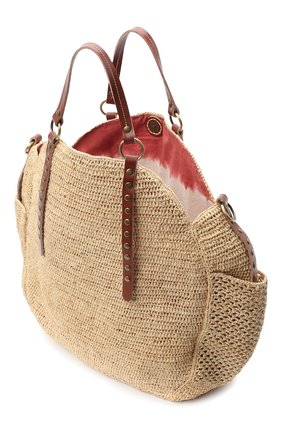 Женская сумка sam SANS-ARCIDET бежевого цвета, арт. SAM BAG S21/L | Фото 4 (Материал: Растительное волокно; Ремень/цепочка: На ремешке; Размер: large)