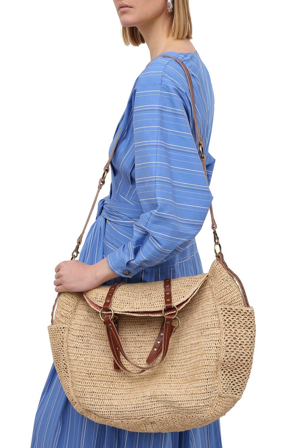 Женская сумка sam SANS-ARCIDET бежевого цвета, арт. SAM BAG S21/L | Фото 5 (Материал: Растительное волокно; Ремень/цепочка: На ремешке; Размер: large)