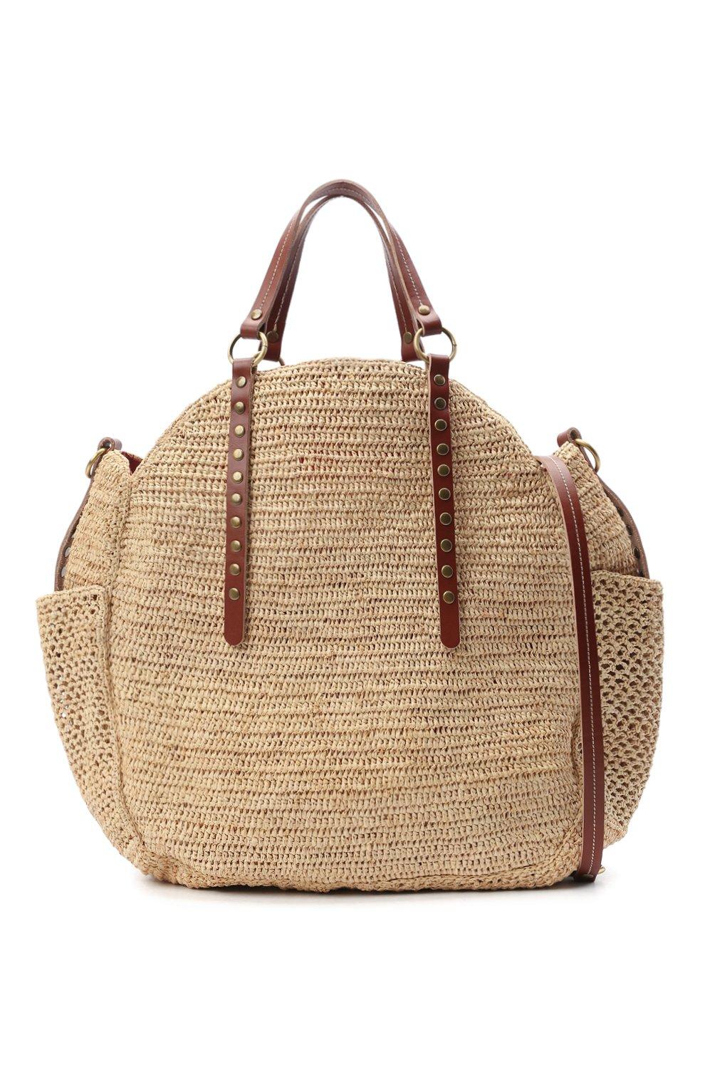 Женская сумка sam SANS-ARCIDET бежевого цвета, арт. SAM BAG S21/L | Фото 6 (Материал: Растительное волокно; Ремень/цепочка: На ремешке; Размер: large)