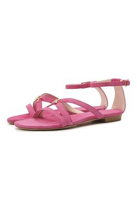 Женские замшевые сандалии KITON розового цвета, арт. D51807X08T65   Фото 1 (Каблук высота: Низкий; Материал внутренний: Натуральная кожа; Подошва: Плоская; Материал внешний: Замша)