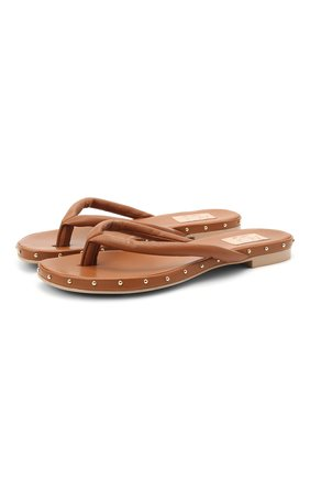 Женские кожаные шлепанцы AGL коричневого цвета, арт. D656034PHKS0474260   Фото 1