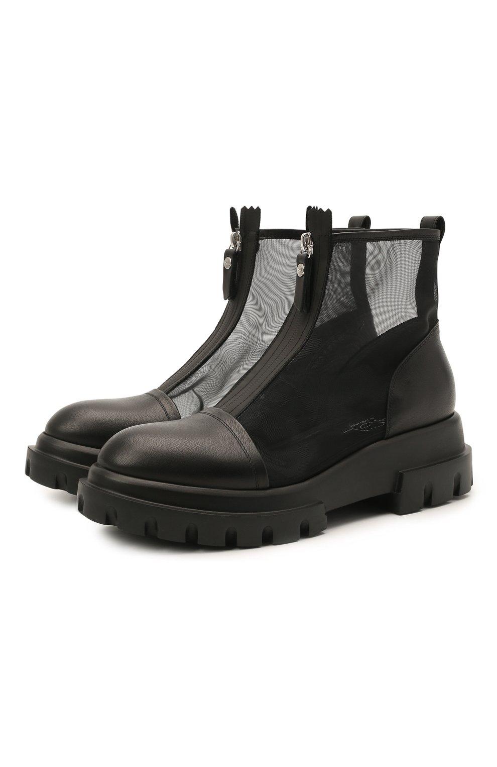 Женские комбинированные ботинки AGL черного цвета, арт. D756559PGKD0411049 | Фото 1 (Материал внешний: Текстиль; Подошва: Платформа; Каблук высота: Низкий; Материал внутренний: Натуральная кожа; Женское Кросс-КТ: Байкеры-ботинки)