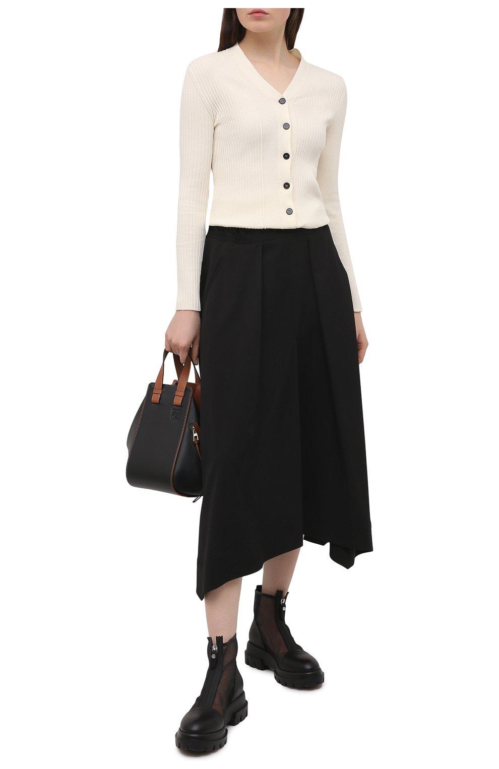 Женские комбинированные ботинки AGL черного цвета, арт. D756559PGKD0411049 | Фото 2 (Материал внешний: Текстиль; Подошва: Платформа; Каблук высота: Низкий; Материал внутренний: Натуральная кожа; Женское Кросс-КТ: Байкеры-ботинки)