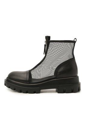 Женские комбинированные ботинки AGL черного цвета, арт. D756559PGKD0411049 | Фото 3 (Материал внешний: Текстиль; Подошва: Платформа; Каблук высота: Низкий; Материал внутренний: Натуральная кожа; Женское Кросс-КТ: Байкеры-ботинки)