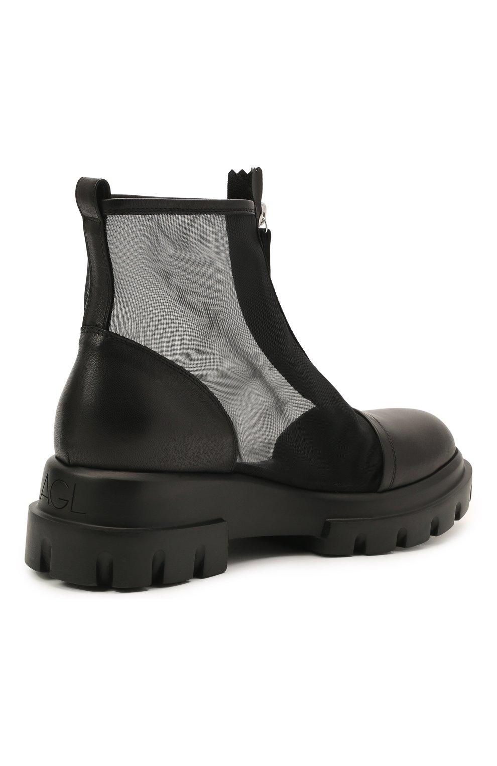 Женские комбинированные ботинки AGL черного цвета, арт. D756559PGKD0411049 | Фото 4 (Материал внешний: Текстиль; Подошва: Платформа; Каблук высота: Низкий; Материал внутренний: Натуральная кожа; Женское Кросс-КТ: Байкеры-ботинки)