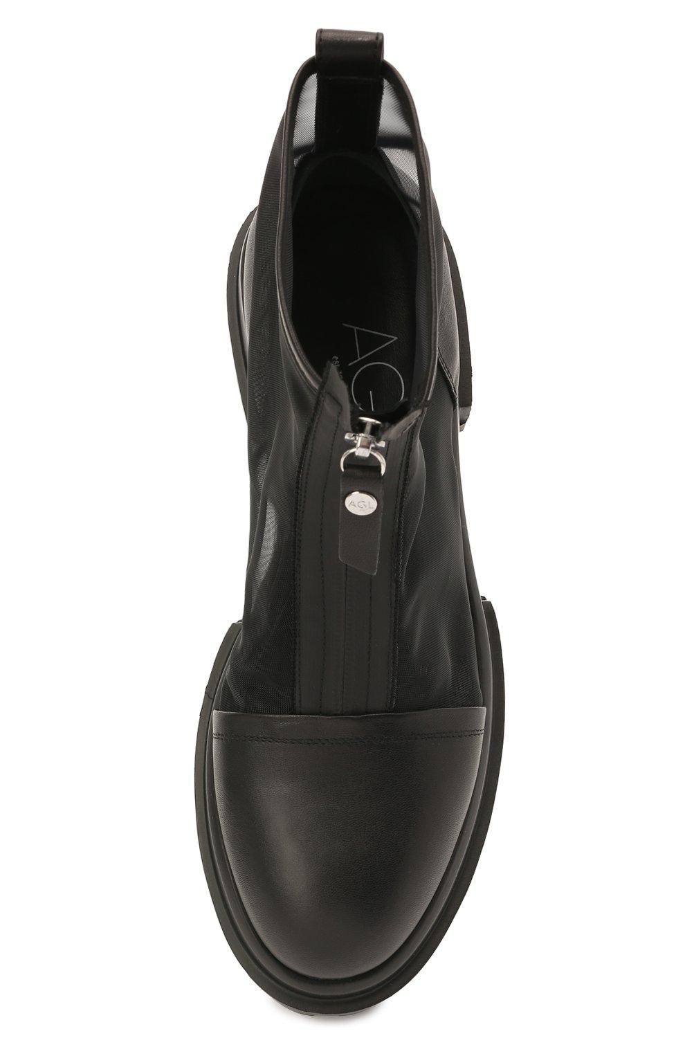 Женские комбинированные ботинки AGL черного цвета, арт. D756559PGKD0411049 | Фото 5 (Материал внешний: Текстиль; Подошва: Платформа; Каблук высота: Низкий; Материал внутренний: Натуральная кожа; Женское Кросс-КТ: Байкеры-ботинки)