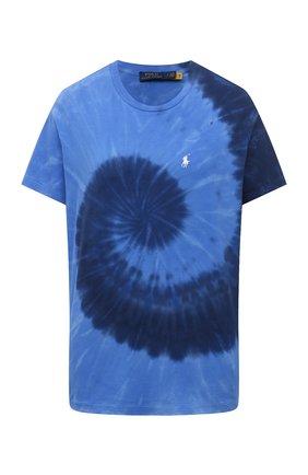 Женская хлопковая футболка POLO RALPH LAUREN синего цвета, арт. 211838150 | Фото 1