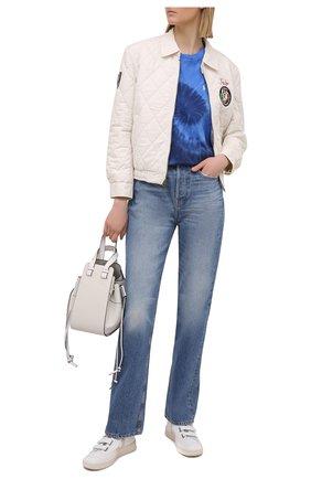 Женская хлопковая футболка POLO RALPH LAUREN синего цвета, арт. 211838150 | Фото 2