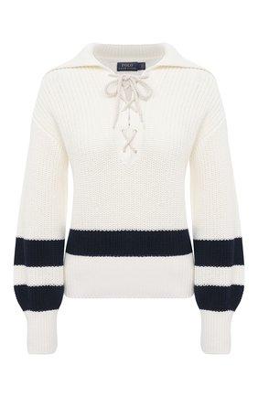 Женский хлопковый свитер POLO RALPH LAUREN кремвого цвета, арт. 211827554 | Фото 1