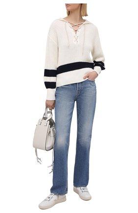 Женский хлопковый свитер POLO RALPH LAUREN кремвого цвета, арт. 211827554 | Фото 2