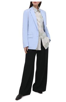 Женский хлопковый жакет DRIES VAN NOTEN голубого цвета, арт. 211-10411-2228 | Фото 2
