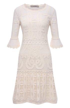 Женское хлопковое платье D.EXTERIOR светло-бежевого цвета, арт. 52338   Фото 1